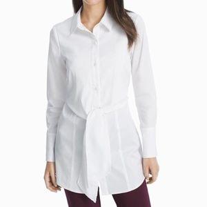 WHBM White Poplin Tie-Front Button Tunic Shirt